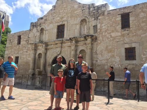 The Upchurches remembering the Alamo, one of our many adventures