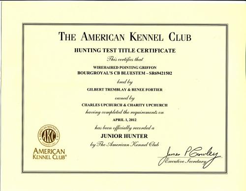 BB's AKC Junior Hunter Certificate