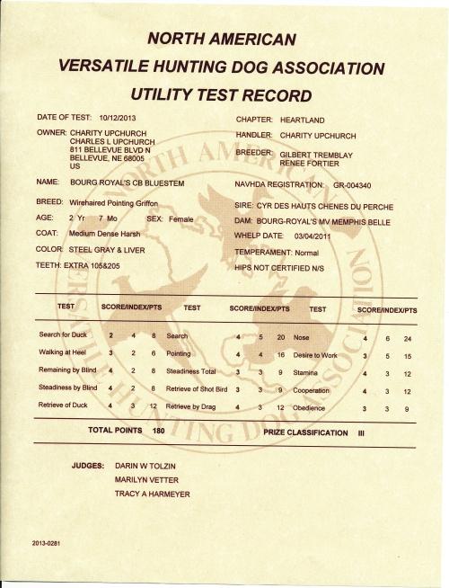 BB's NAVHDA Utility Test Certificate