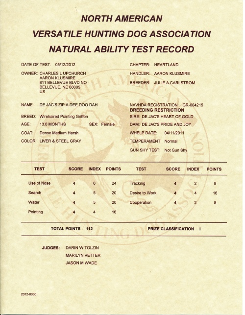 Velma's NAVHDA Natural Ability Test Certificate