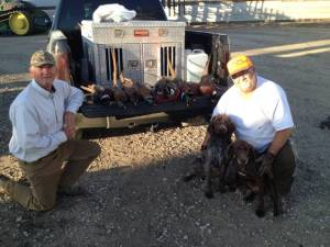 Randy, Roxy (18 month old Wirehaired Pointing Griffon female) and company after a great day in the field