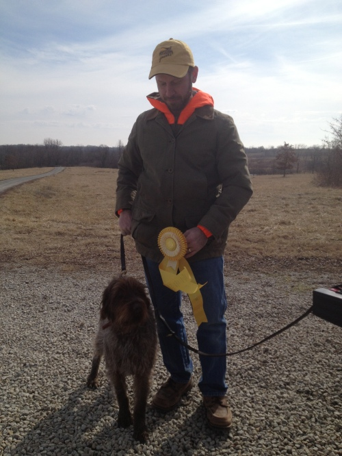 Charles and BB at the trial grounds with their third place ribbon from Saturday