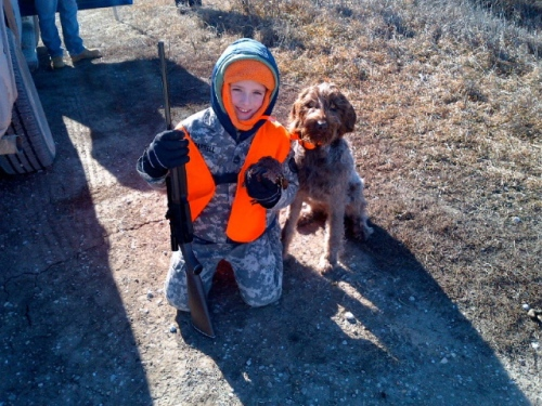 Joey is fired up about bird hunting with some help from Dottie!!