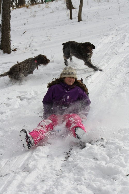 BB and Sam having a good time while Cordelia sleds down the hill.