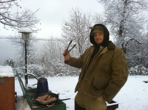 Random pic of Lou cooking since there is no pheasant pic.  It snowed Saturday night, so this must be Sunday morning.