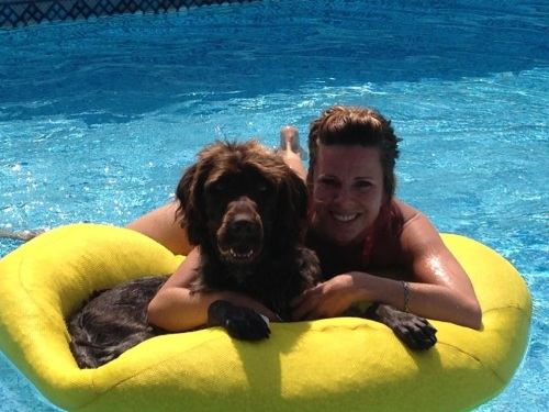 Gomer and Jenna in the pool last  summer
