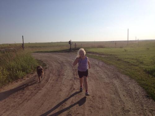 Sue and Savannah on a jog.