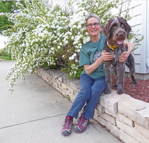 Susan and TracHer in the summer flowers