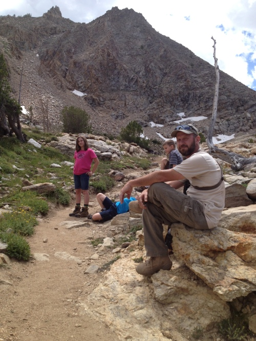 Stopping for a break.  Snow on the ground still in late July.