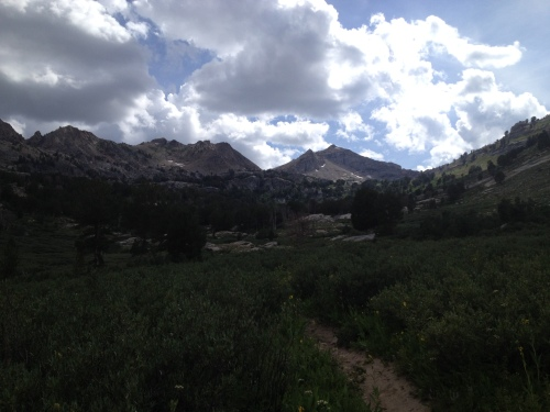 The view up the trail to Liberty Pass from the End of the Road parking lot at Lamoille Canyon.