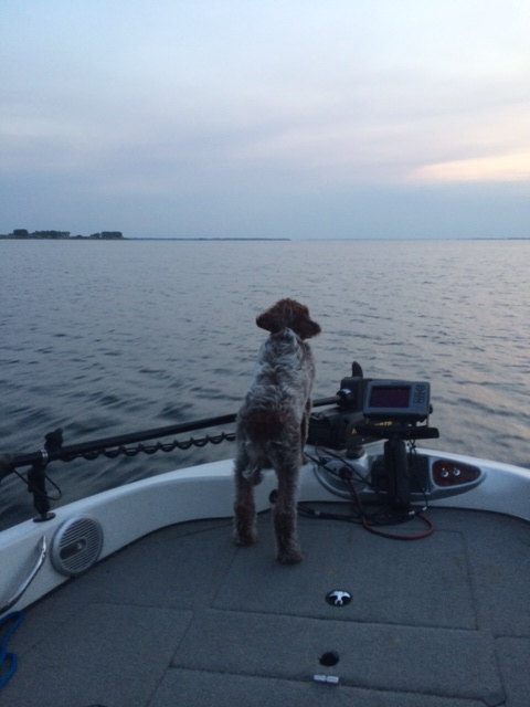 Duncan on a fishing trip, waiting for hunting season.