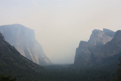 Yosemite Valley in the smoke.  Normally, Half Dome is visible on the right.