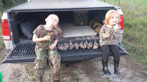 Carter and Cadence loved watching their dad Matt shoot doves near Lincoln.