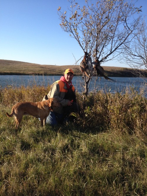 Aaron, his lab, and Velma WPG in North Dakota on Saturday.