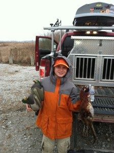 Conrad, rooster, and decoys.