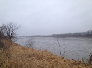 The Platte River, about 1 mile west of the confluence with the Missouri River