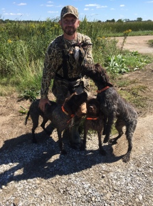 Charles with four snipe, a sora, and a teal